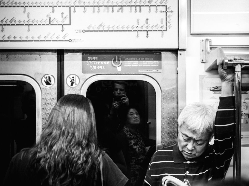 black and white subway photo in Seoul